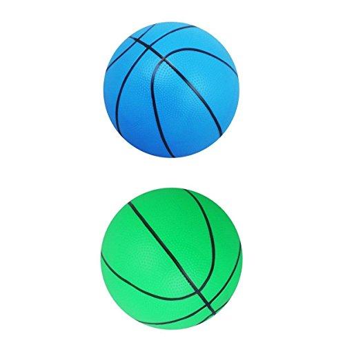 Toygogo 2X Kleiner Basketball Mini Niedlicher Basketball Für Kinder Weicher Und Federnder Handball, 6 '' Kleinkind Mini Hoop Ball Geschenk (Blau, Grün,)