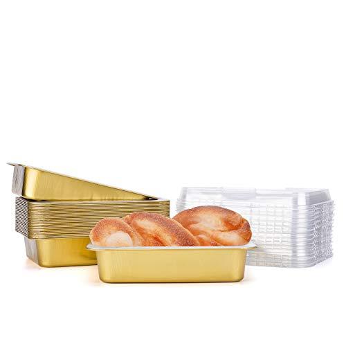 Aluminum Pans with Lids, Beasea 7x5 Inch 25 Pack Disposable Loaf Pan Golden Brownie Pans Aluminum Foil Bread Pans Rectangular Bread Loaf Baking Pans Loaf Bakeware for Baking