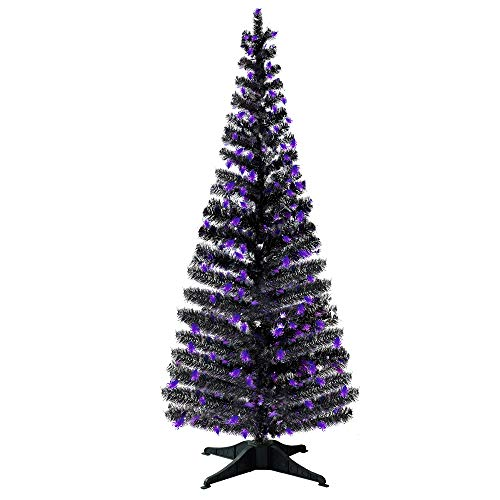 Halloween Decorations-6FT Pop Up Tinsel Branches Trees with Plump Shiny Spider Sequin,Collapsible Artificial Halloween Xmas Black Tree with Plastic Stand...