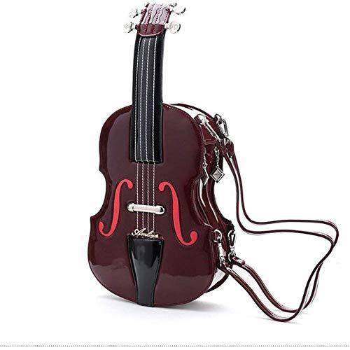 AAFLY Donne Crossbody Borsa retrò borse a forma di violino in vetrina Sling Bag Portable diagonale pacchetto Messenger Bag (Red wine)