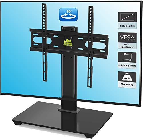 Forgingmount - Soporte de TV universal giratorio para TV de 27 a 55 pulgadas, soporte de montaje de TV con base de vidrio templado, VESA 400 x 400 mm, soporta hasta 80 libras