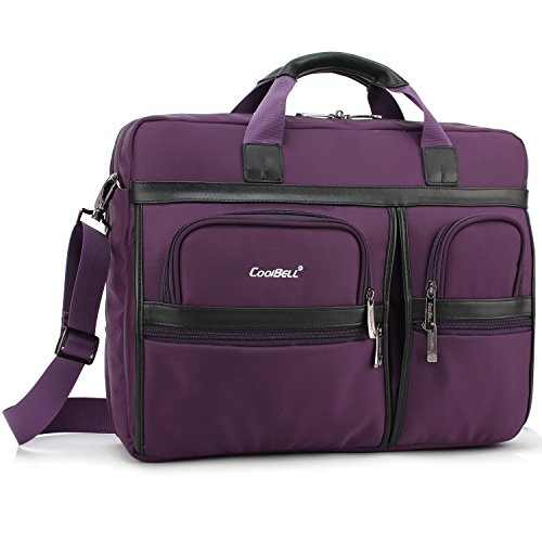 CoolBell Laptop-Aktentasche, 43,8 cm (17,3 Zoll), Umhängetasche, Nylon, multifunktionale Handtasche für Laptop/Ultrabook/Tablet/MacBook/Dell/HP/Acer/Herren/Frauen/Business (lila)
