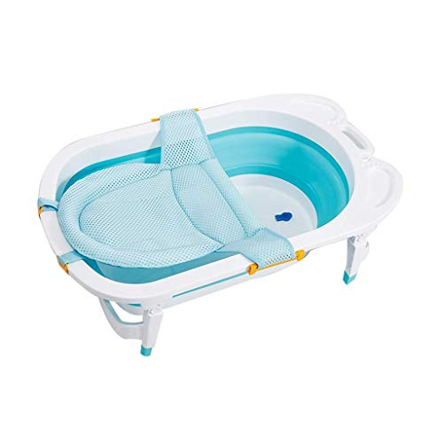 Jacar - Faltbare Babybadewanne Blau Farbe für Reisen | Neugeborene Babywanne - rutschfest | Baby Mesh Stuhl für Badezimmer