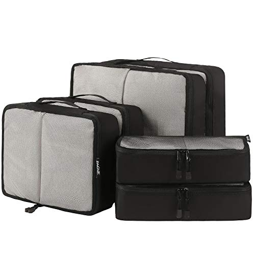 Bagail 6 Set Packing Cubes,3 Various Sizes Travel Luggage Packing Organizers(Black Net)
