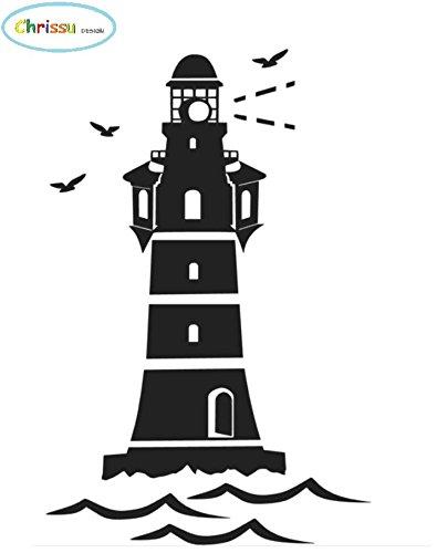 Generic Leuchtturm Aufkleber 28x19cm für Badezimmer, Wandtattoo, als Wohnmobil Caraven Wohnwagen Camping Aufkleber (220/1) (Dunkelgrau Matt)