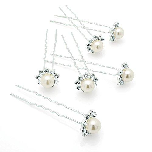 Chocolate Pickle® Nouveau Femmes 6 Pièces Argent & Perle Crème Couleur Cristal Cheveux Pins Set Cheveu Accessoires Silver N Cream Pearl