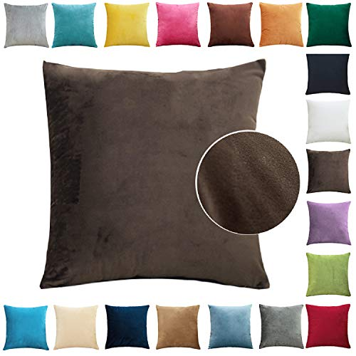 Brfash Fundas de Cojine Throw Cojín Decoración Almohada la Cubierta Hogar Sofá Coche Cama Color Sólido Elegante Terciopelo Funda de Almohada Blanco 20'x20'/50X50CM