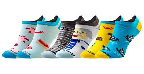Sesto Senso Lustige Sneaker Socken Baumwolle Bunte Füßlinge Damen Herren 1-3 Paar Funny Socks / 36/37, 3 Fetzig