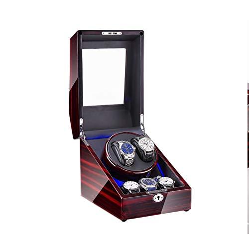 Cajón para guardar relojes y joyas Reloj automático Bander Bander 2 + 3, con luz LED, EXTERIOR DE PINTURA PIANO DE PANO DE MADERA, 4 Modos de rotación, Motores bastante Estuche de almacenamiento de lu