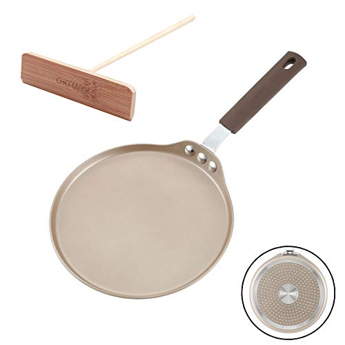 CHEFMADE Crepe Pan with Bamboo Spreader, 8-Inch Non-Stick Pancake Pan with Insulating Silicone...