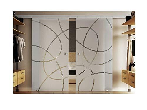 Glazen schuifdeuren binnen 2 x 102,5 x 205 cm in gehard melkglas met verticale strepen (T) Levidor® EasySlide-System compleet. Looprail en schelpgrepen, schuifdeur van glas voor binnenshuis.