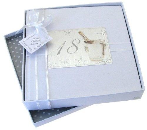White Cotton Cards Fotoalbum für 18. Geburtstag, mittelgroß, Design Champagner, Silber