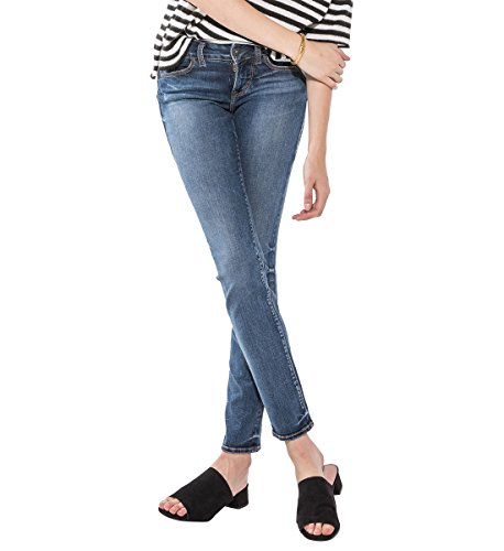 Silver Jeans Co. Damen Suki Curvy Fit Mid Rise Straight Leg Jeans, Mittlere Indigo-Waschung, 32W x 32L