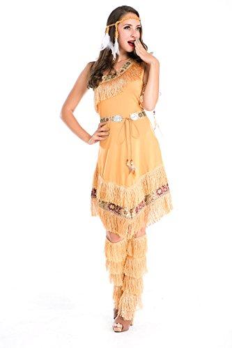 Kostüm INDIANERIN ASYMETRISCH mit FRANSEN in Gr. S