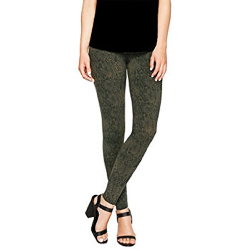 Matty M Ladies' Snakeskin Legging, Thicker Material, Wide Waist Band (X-Large, Army)