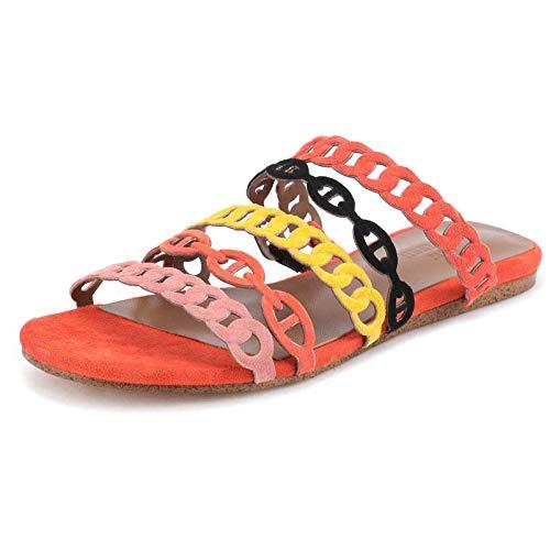 Antislip zachte indoor huispantoffels,Zomer antislip platte slippers, holle leren sandalen met kleurvlakken-color_36