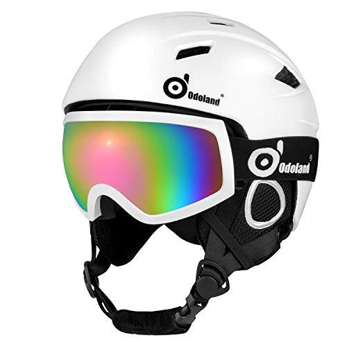 Odoland Skihelm und Skibrille Set, Snowboardhelm mit Snowboardbrille für Erwachsene und Kinder, Schneebrille UV 400 Schutz Windwiderstand Snowboard Brille zum Skifahren und Bergsteigen Weiß XS-48-50cm