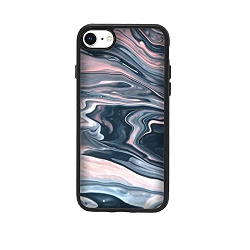 Funda Carcasa compatible con Apple iPhone 7 Diseño de efecto de mármol líquido. Rosado azul (942) / Vuelos de aluminio con goma en los lados. / TPU antideslizante anti-scratch resistente a los golp