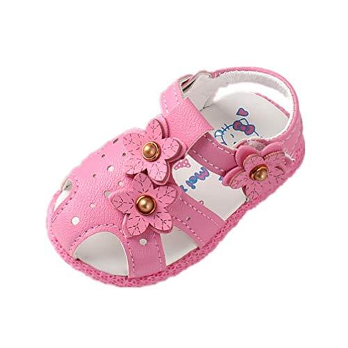 Auxma Chaussures bébé Fille pour 0-2 Ans Sandales Fleurs Bébé Fille, Chaussures à Semelle Souple antidérapantes (20 EU, Rose Vif)
