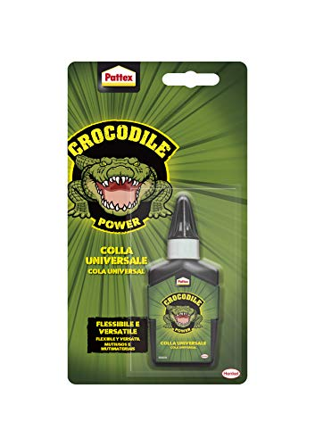 Pattex Crocodile Power Alleskleber, flexibel und vielseitig mit hoher Anfangskraft, extra starker Kleber für Metall, Holz, Kunststoff, Stein und mehr, transparenter Klebstoff, 1 x 50g