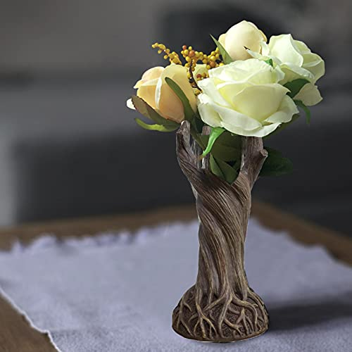 WEIHE Dryad Vase Ornament, Vases for Flowers Vase, Creative Tree Trunk Resin Crafts Decoration, Art Deco Vase for Living Room Office Desk Family Decor,B