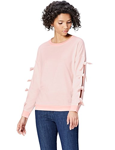 Amazon-Marke: find. Sweatshirt Damen mit Schlitzen und rundem Ausschnitt, Rosa (Blush Mix), 34, Label: XS