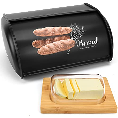 Beyoung Bread Box for Kitchen Counter, Roll Top Bread Box Storage Bin Stainless, Steel Bread Box for kitchen,Metal Bread Bin,Bread Storage Bread holder (Black+Butter Dish)