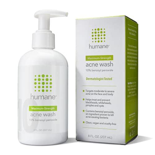 Humane Maximum-Strength Acne Wash - 10% Benzoyl Peroxide Acne...