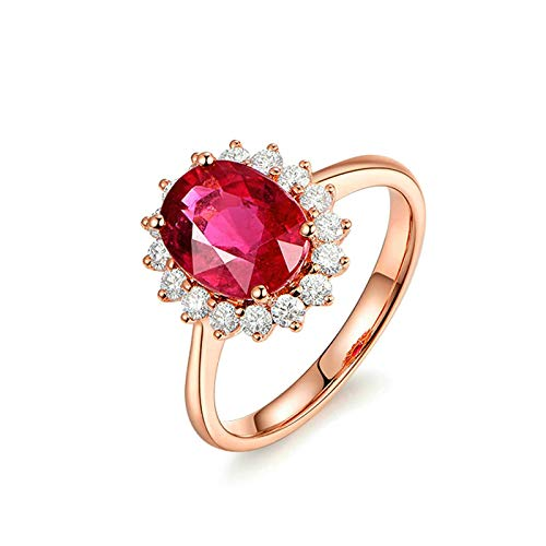 Bishilin Oro Rosa 18K Anillo de Boda Rojo Turmalina Forma de Flor con Incrustaciones de Turmalina de 1.45Ct Y Diamante de 0.23Ct Rosa Dorado Rojo Anillo de Matrimonio de Compromiso Talla:21