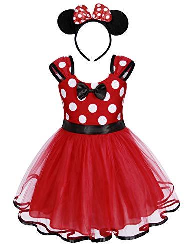 Jurebecia Kleinkind Mädchen Tupfen Kleider Prinzessin Bowknot Tutu Kleid + Mini Maus Ohr Stirnband Geburtstagsfeier Outfits 1-6 Jahre