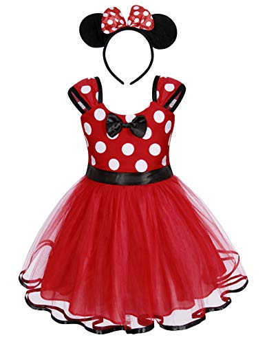 Jurebecia Vestido de Lunares + Mini Mouse Ears Diadema para nias Princesa Bowknot Tutu Fiesta de cumpleaos Trajes 1-7 aos (Rojo-A194, 4-5 aos)