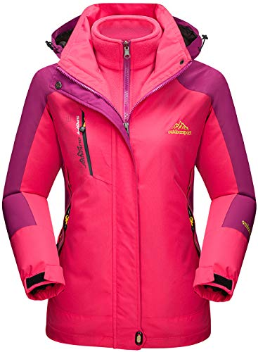 TACVASEN Damen 3-in-1 Jacke Wasserdicht Fleece Gefüttert Kapuzenmantel für Winter Outdoor Ski Sports, Rose Rot, XL