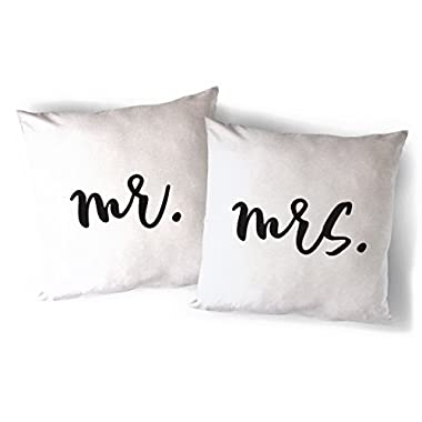 The Cotton & Canvas Co. Mr. and Mrs. Home Decor Pillow Cover, Pillowcase, Cushion Cover and Decorative Throw Pillow, 2-pack (Natural Color, Not White)