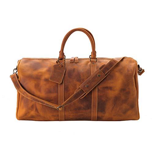 Londo Genuine Top Grain Leather Duffel Bag (Camel)