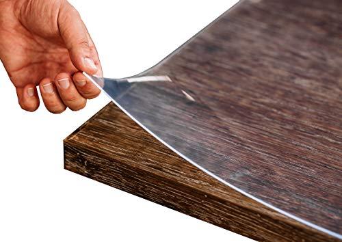 Tischfolie PVC transparent hochglanz Maßanfertigung Exakter Schnitt Tischdecke Schutzfolie Folie 2,5 mm (80 x 140 cm)