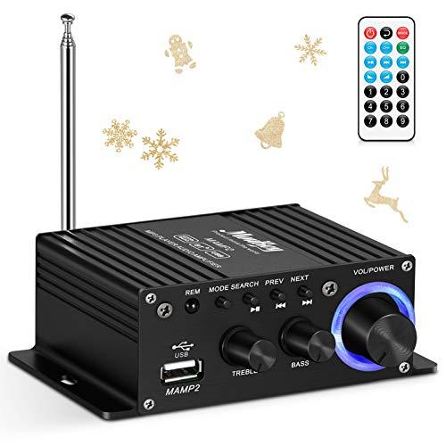 Wireless Audio Amplificatore Stereo, Moukey Bluetooth Hi-Fi Mini Ampli Ricevitore Stereo doppio canale Picco di potenza 50W HiFi FM USB AUX per Auto Altoparlanti Domestici con Telecomando, MAMP2