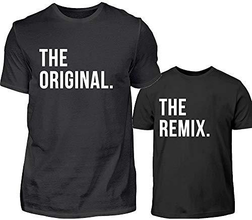 Vater Sohn Partnerlook T-Shirt Set The Original The Remix Papa Kind Partnershirts Für Sohn Oder Tochter (Schwarz)