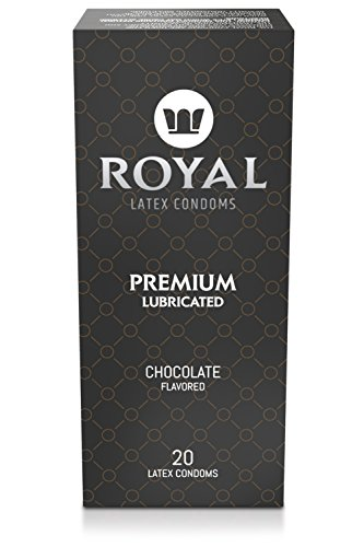 Royal Ultra-Thin Latex Condoms - Chocolate Flavored and Lubricated - Strong, FDA Approved Non-Toxic Latex - All Natural, Organic, Vegan, No Cruelty Contraceptive - Snug Fit, Accurate Sizing - 20 Pack