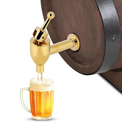 Haofy Grifo de Barril de Cerveza, dispensador de Grifo de Cobre para fermentador de Vino, Jugo de Bebida, barriles de Bebida con espita(Dorado)
