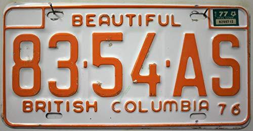 British Columbia Nummernschild Kanada Autokennzeichen, Canada License Plate, KFZ Schild/Blechschild