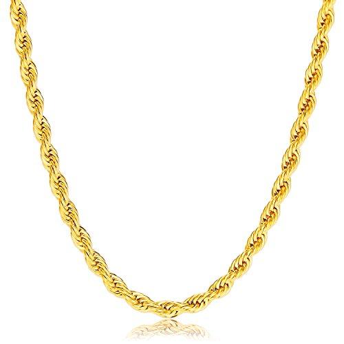 vcmart Herren Gold Halskette - Edelstahl 18K vergoldet Kette 50cm