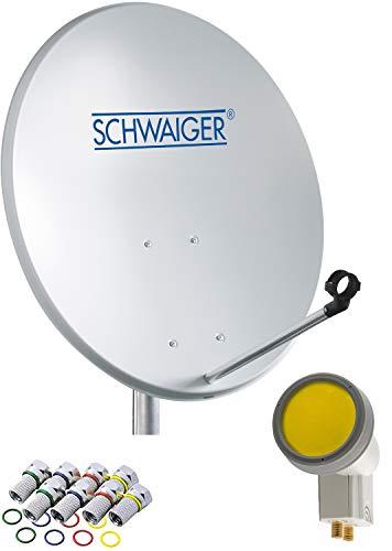 SCHWAIGER -715866- Sat Anlage | Satellitenschüssel mit Twin LNB (digital) | inkl. 8 F-Steckern 7 mm | Sat Antenne aus Aluminium | 55 x 62 cm | Hellgrau