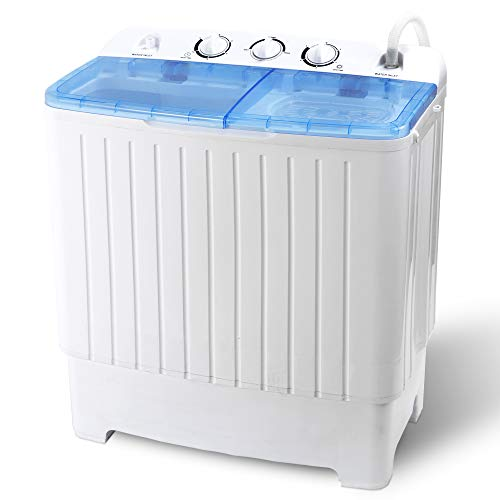 Nouva 17.6lbs Portable Washing Machine, Mini Compact 2 In 1 Twin Tub Washer and Spin Dryer with Timer Control for Apartments, RVs, Camping, Dorms