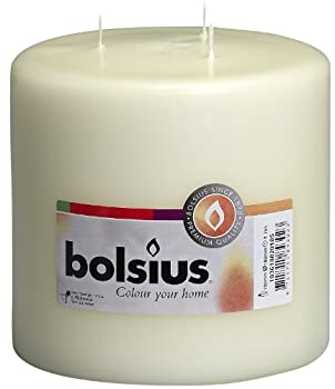 BOLSIUS Candles – 3 Wick Ivory Candles – Approx 6X6 inch Inches Relight Party Candles – Unscented Candles – Ivory Pillar Candles – Long Burning Candles