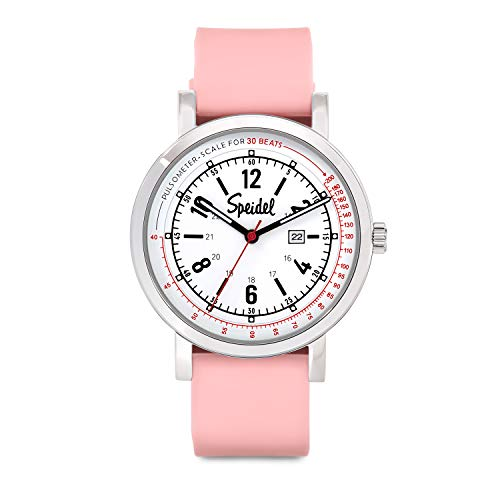 Speidel Scrub 30 Watch for Medical Professionals with Scrub Matching Light Pink Silicone Band, Pulsometer, Date Window, Easy to Read Dial, Second Hand, Military Time for Nurses, Doctors, Students