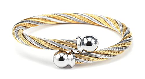 CHARRIOL Celtic - Stainless Steel Bicolor Bangle, Stainless Steel Yellow Gold PVD Cable (6mm), Size M