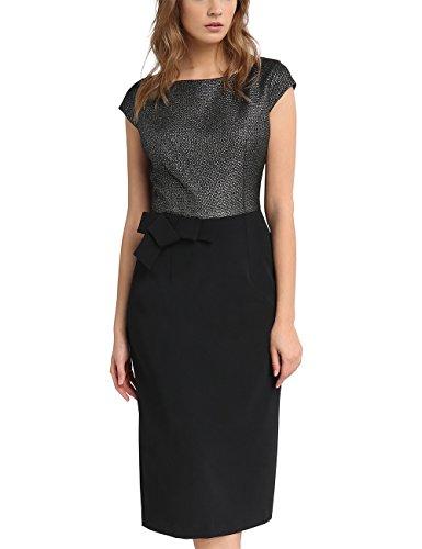 APART Fashion Damen 60702 Kleid, Mehrfarbig (Schwarz-Silber), 38