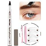 Eyebrow Pencil - MoonKong Microblading Brow Pen with a Micro-Fork Tip Applicator, Waterproof Tat Brow Pen for Natural Eye Brown Makeup (4# Black)