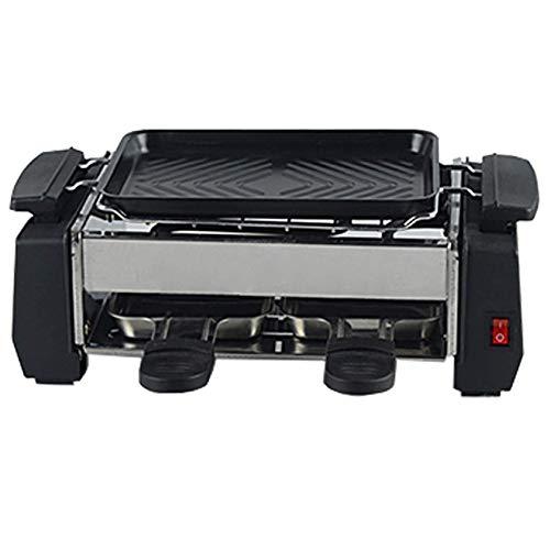 AOIWE Raclette Grills leicht zu reinigen 1000 Watt-elektrischer großer Grill mit Thermostat-Wärmekontrolle mit 2 Mini-Pans rauchlosen Indoor-Raclette-Grill-Gesundheit (Size : 1000W)