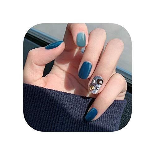 24 pcs/boîte nouveaux styles bleu court carré presse sur les ongles femmes détachable portable couverture complète acrylique artificielle ongles avec de la colle-as show-
